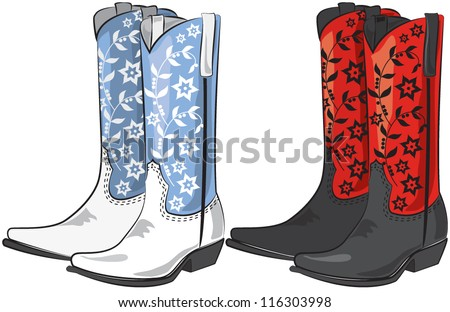 Vector illustration of cowboy boots - stock vector