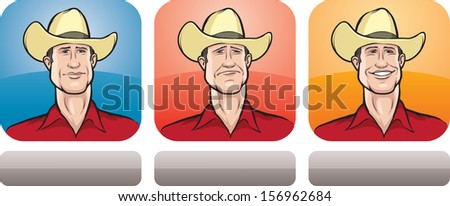 Vector illustration of cowboy face in three expressions: neutral, sad and happy - head and shoulders composition. Layered vector EPS10 format file.