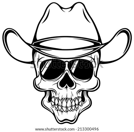 vector illustration cowboy skull outline stock vector 213300496