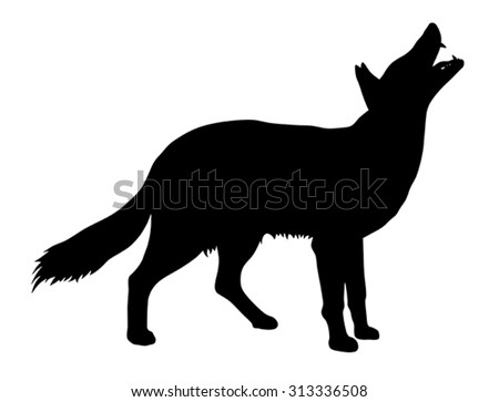 Vector illustration of coyote silhouette - stock vector