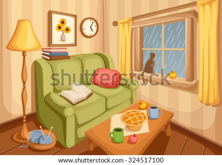 Vector illustration of cozy autumn living room with rain outside the window.