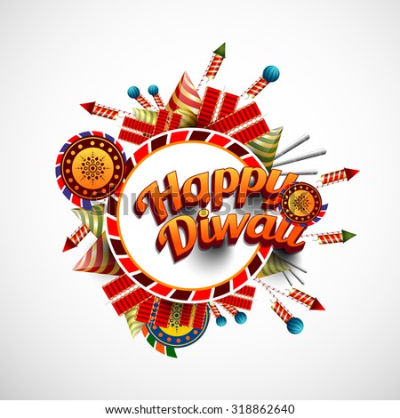 Vector Illustration of crackers, fireworks for Diwali festival  - stock vector