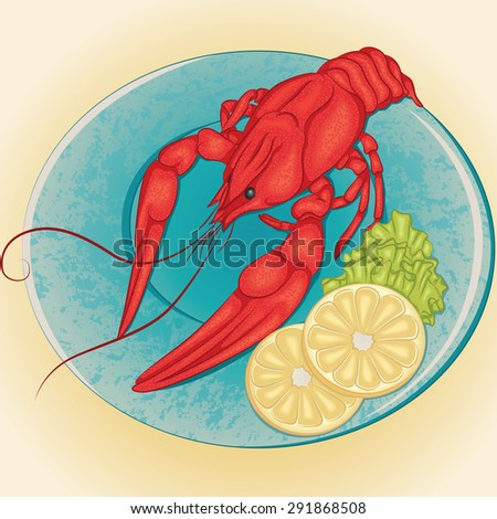 Vector illustration of crayfish on a plate with slices of lemon and green salad - stock vector