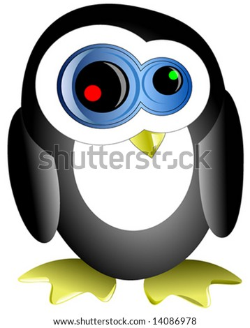 vector illustration of crazy penguin - stock vector