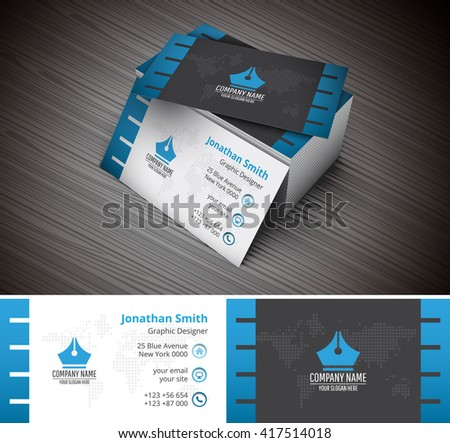 Vector illustration of creative business card template.