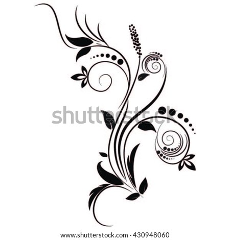 vector illustration of creative floral pattern silhouettes. - stock vector