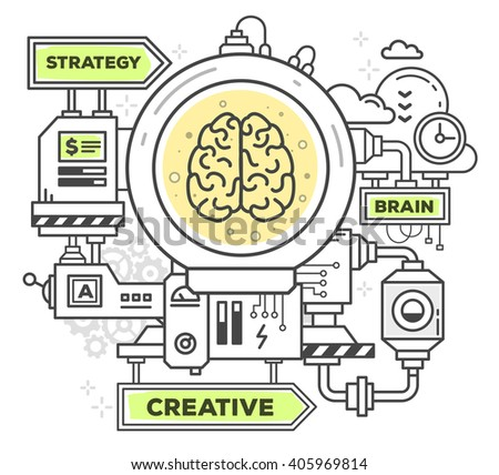 Vector illustration of creative professional mechanism to create an idea on white background.Draw flat thin line art style monochrome design with green and yellow colors.Modern concept of work a brain - stock vector