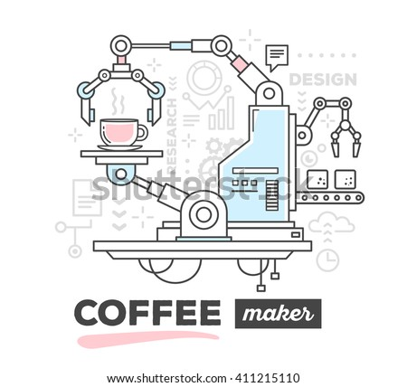 Vector illustration of creative professional mechanism to make a coffee with text on white background. Draw flat thin line art style monochrome design with pink and blue color for coffee machine theme - stock vector