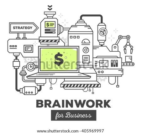 Vector illustration of creative professional mechanism to make money on white background. Draw flat thin line art style monochrome design with green color. Modern concept to make money in business
