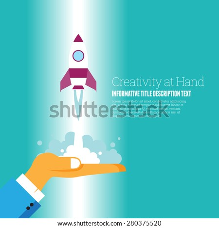 Vector illustration of creativity in hand conceptual design elements. - stock vector