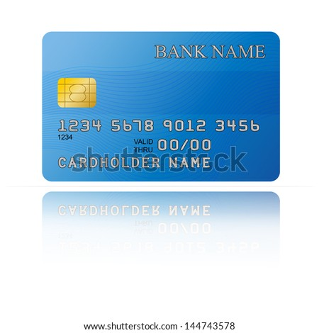 Vector illustration of credit card icon with reflection on white