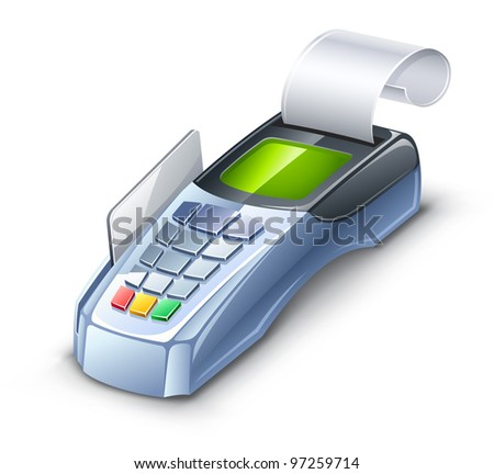 Vector illustration of credit card reader on white background. - stock vector