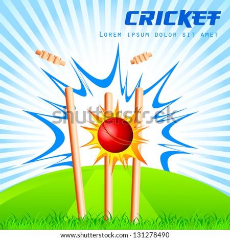 vector illustration of cricket ball hitting stumps - stock vector