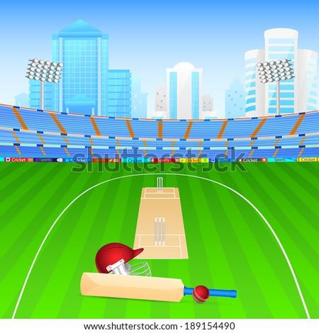 vector illustration of cricket bat and ball in stadium - stock vector