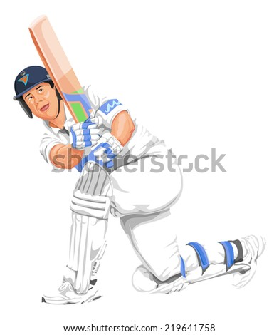 Vector illustration of cricket batsman in action. - stock vector