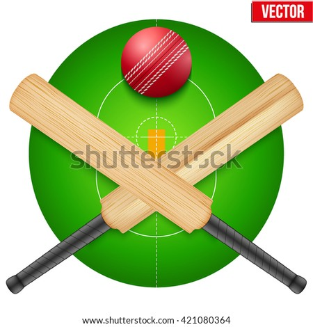 Vector illustration of cricket leather ball and wooden bats on field. Symbol of sports. Isolated on white background. - stock vector