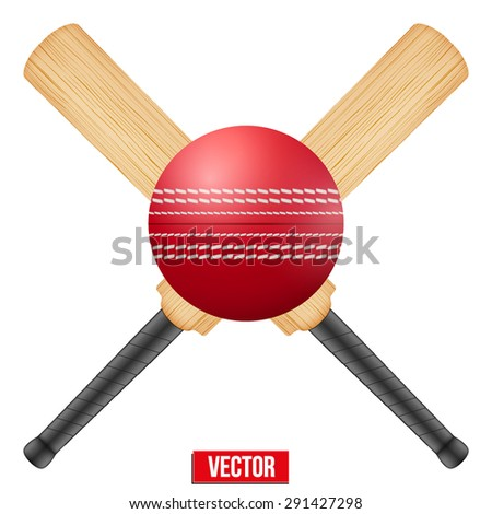 Vector illustration of cricket leather ball and wooden bats. Symbol of sports. Isolated on white background. - stock vector