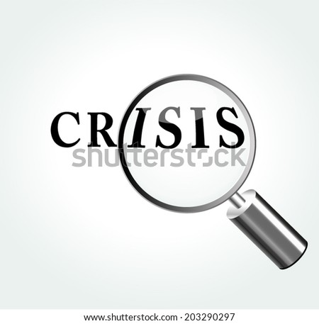 Vector illustration of crisis concept with magnifying