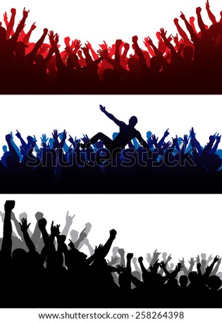 Vector illustration of crowd silhouettes set. Included 13 different male silhouettes. Each silhouette is separate and easy to edit. You can make your own crowd!!