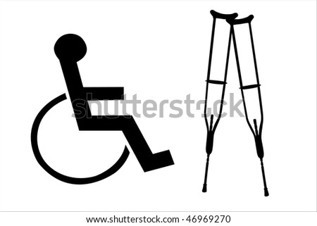 Vector illustration of crutches and wheelchair silhouettes - stock vector