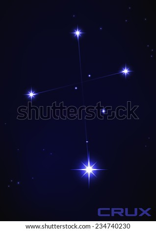 Vector illustration of Crux constellation in blue  - stock vector