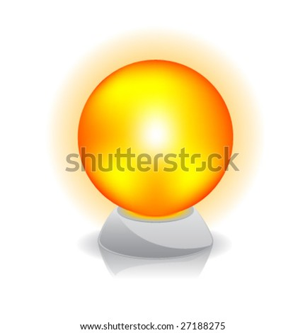 Vector illustration of Crystal magic ball. Orange. - stock vector