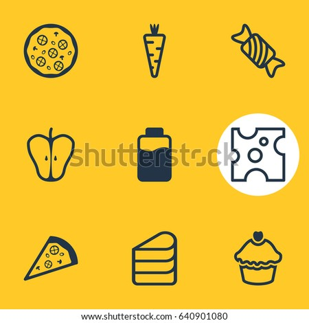 Vector Illustration Of 9 Cuisine Icons. Editable Pack Of Patisserie, Cheddar, Pizzeria And Other Elements.