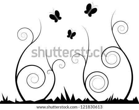 Vector Illustration of Curly Swirl Stems with Butterflies