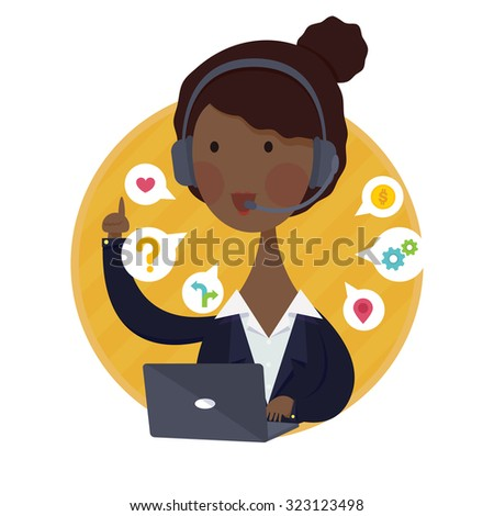 Vector illustration of Customer Support Help Desk African American  Woman Operator Service Concept in Black Suit - stock vector