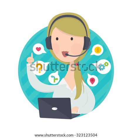 Vector illustration of customer support help desk blond hair woman operator service concept - stock vector