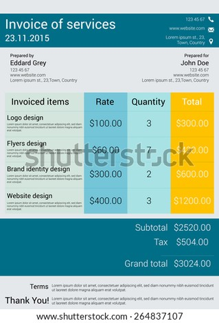 vector illustration of customizable Invoice form template design in modern style