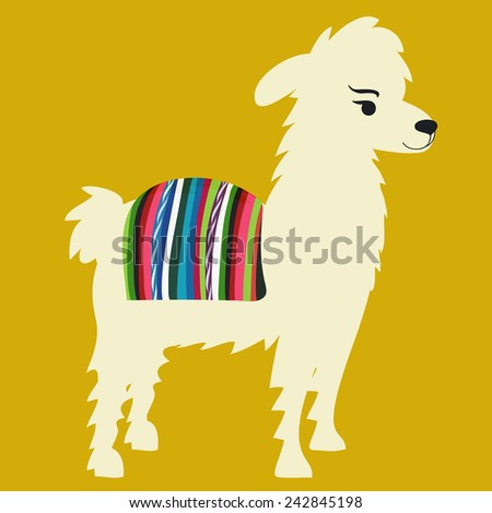 Vector illustration of cute alpaca with Peru/Bolivian cape on back - stock vector