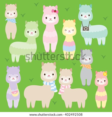 Vector illustration of cute alpacas or llamas in different colors. - stock vector