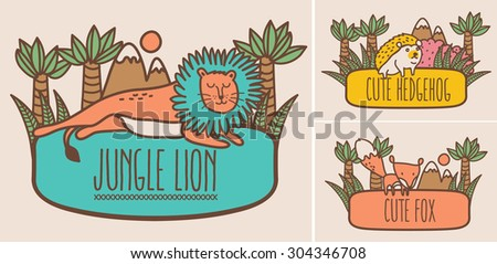 Vector illustration of cute animal - stock vector
