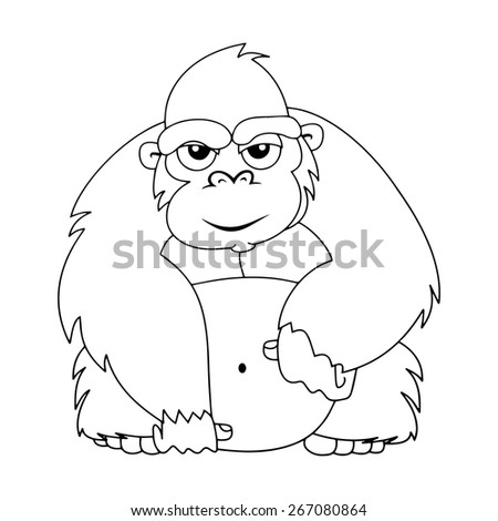 Vector illustration of cute animal : Monkey - stock vector