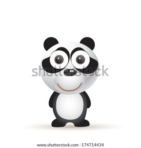 Vector illustration of cute animal, panda - stock vector