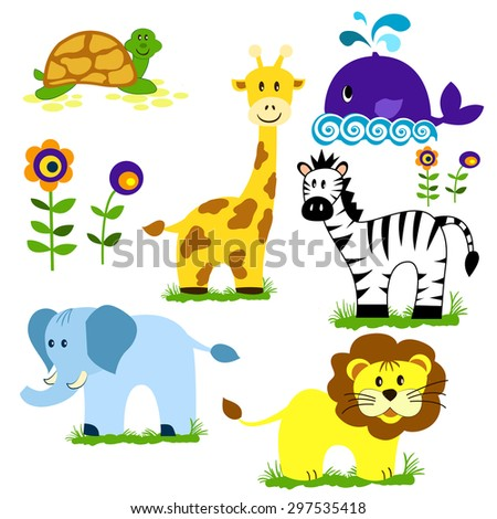 Vector illustration of cute animal set including