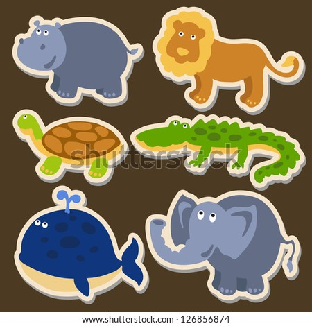 Vector illustration of cute animal set including hippopotamus, lion, turtle, crocodile, whale and elephant