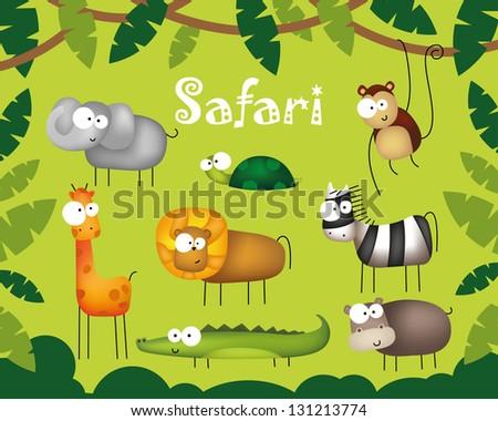 Vector illustration of cute animal set including lion, elephant, monkey, giraffe, zebra, hippo, turtle and crocodile - stock vector