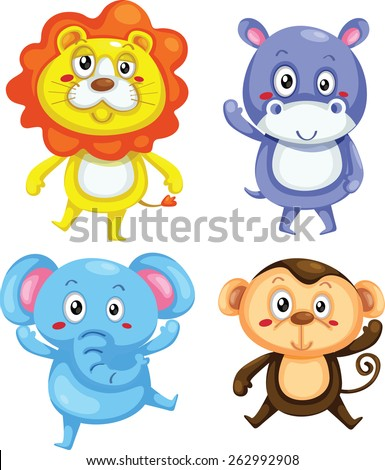 Vector illustration of cute animal set including lion, hippo, elephant and monkey.  - stock vector