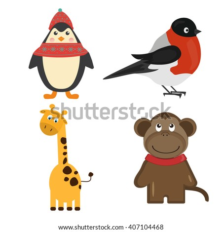 Vector illustration of cute animal set including penguin, bullfinch, monkey, giraffe, fox, bear, panda. Cartoon animal character and cartoon cute animal set. Zoo wild animal collection. - stock vector