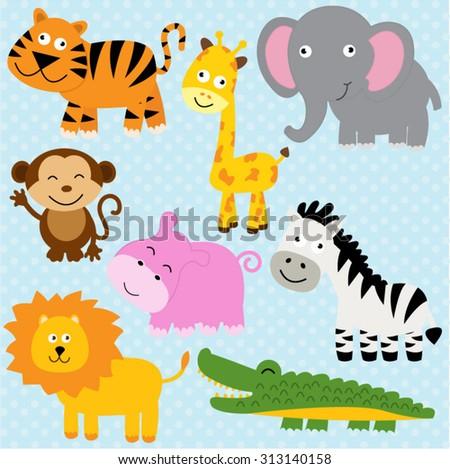 Vector illustration of cute animal set including tiger, crocodile, giraffe, monkey, lion, elephant, hippo and zebra. - stock vector