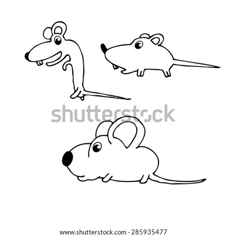 Vector illustration of cute animal. Vector illustration of cartoon mouse. Cute cartoon mouse