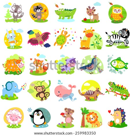 Vector illustration of cute animals and birds: wolf, raccoon, alligator, deer, owl, rabbit, bat, turtle, giraffe, zebra, yak, fox, cow, quail, bird, elephant, monkey, whale, numbat, iguanas, sheep