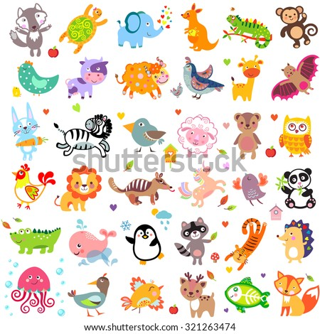 Vector illustration of cute animals and birds: Y oon, hedgehog, whale, panda, lion, deer, x-ray fish