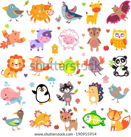 Vector illustration of cute animals and birds: Yak, quail, giraffe, vampire bat, cow, sheep, bear, owl, raccoon, hedgehog, whale, panda, lion, deer, x-ray fish, fox, dove, crow, chicken, duck, quail - stock vector