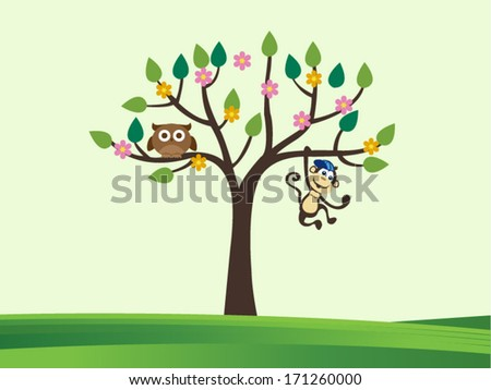 Vector illustration of cute animals and tree