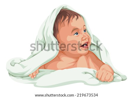 Vector illustration of cute baby boy covered with towel. - stock vector