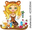 Vector illustration of cute bartender girl wearing costume of Tiger (symbol of 2010 year), serving different drinks at New year party. - stock vector