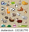Vector illustration of cute big animal set - stock vector